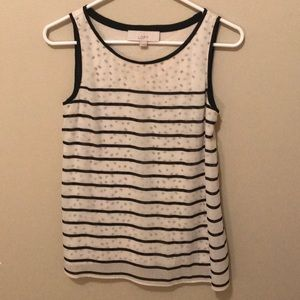 Loft, black and white tank top
